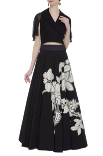 Crop top with bouffant lehenga skirt