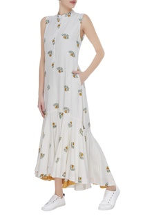 Floral printed midi dress with gathered detail