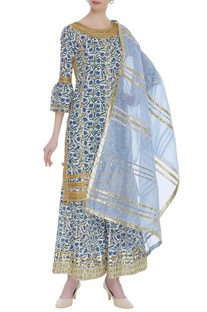Floral block printed & embroidered kurta set