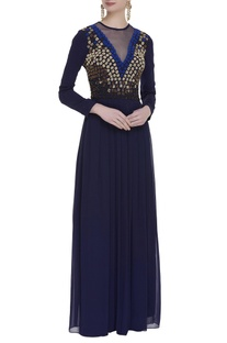 Sequins hand embroidered gown
