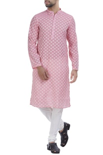 Cotton self-weave kurta with churidar