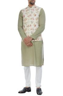 Self woven silk nehru jacket