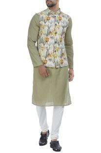 Artistic lily floral printed nehru jacket