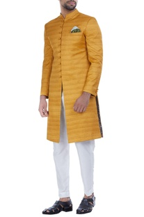 Textured silk achkan jacket with churidar