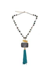 Onyx & tassel beaded long necklace