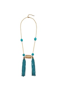 Long chain necklace with turquoise stones