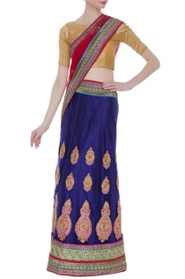 Net embroidered sari with unstitched blouse