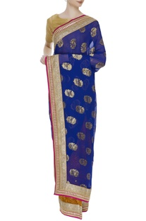 Embellished banarasi georgette sari with unstitched blouse