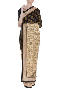 Net & banarasi sari with unstitched blouse