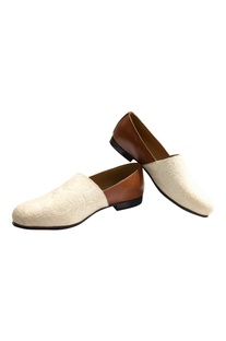Handcrafted leather & fabric espadrille style shoes