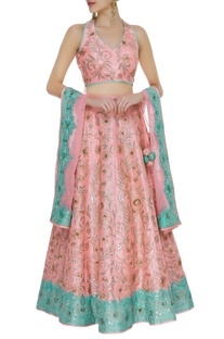 Sequin & pearl embroidered lehenga set