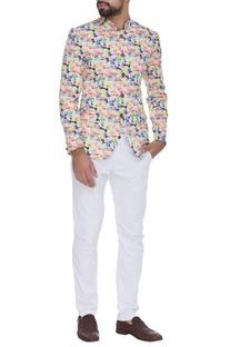 Printed multi color bandhgala jacket