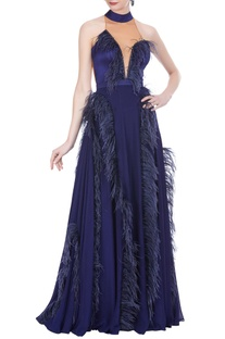 Hand embroidered feather gown