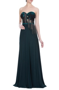 Hand embroidered stretch tube gown with ball chain detail