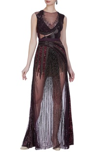 Hand embroidered backless sheer gown