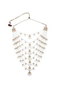 Kundan jadau pearl layered necklace