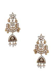 Kundan jadau meenakari drop earrings
