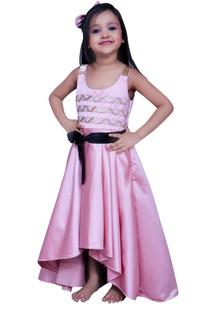 High low dress with waistbelt