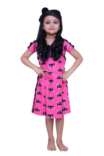 Cat printed dress with bow detail