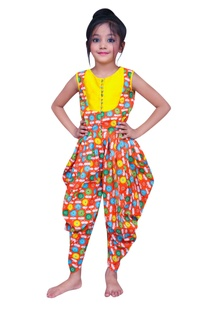 Printed jumpsuit with button placket.
