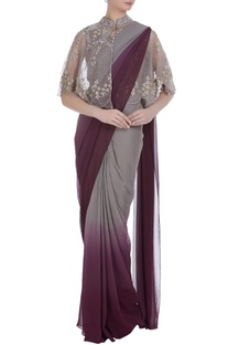 Front open cape with ombre pre-stitched sari
