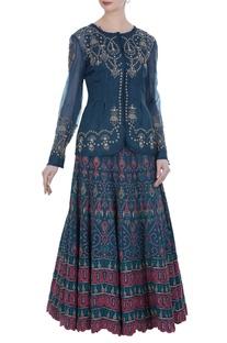 Paneled embroidered jacket with lehenga set