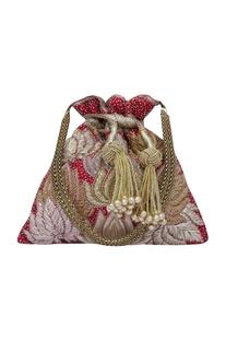 Precious petals maroon embroidered potli