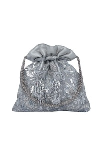 Floral embroidered silver potli bag