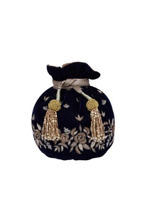 Navy blue embroidered potli bag
