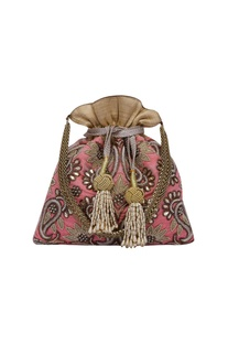 Potli bag hand embroidered with zardozi & kundan work.