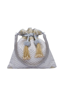 Electric white hand embroidered potli bag