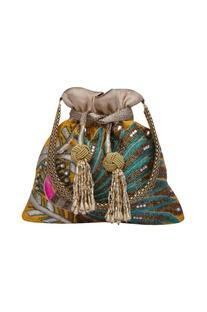 Zardosi embroidered multi color potli bag
