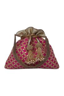 Pink potli bag hand embroidered with gota patti