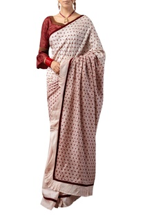 Star motif embroidered sari with ruffle sleeves blouse