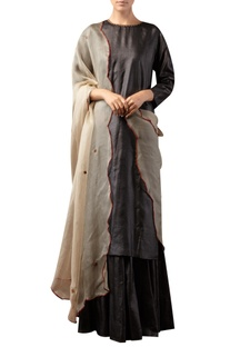 Straight fit kurta with sharara and embroidered dupatta