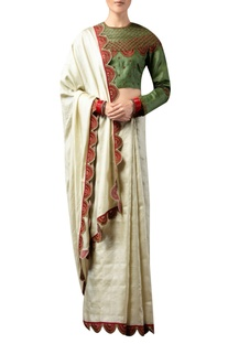 Scallop embroidered border sari with blouse