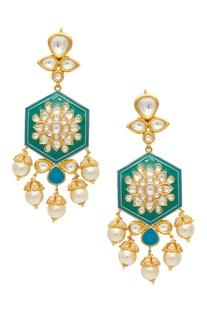 Kundan & pearl drop earrings