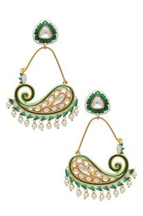 Green lotus earrings with meenakari work
