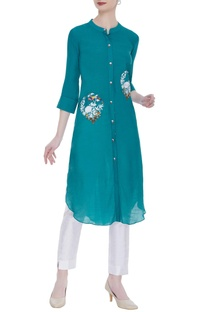 Linen silk embroidered tunic