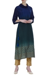 Shaded kurta with foil print and dori embroidery