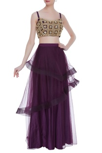 Embroidered blouse & layered lehenga skirt