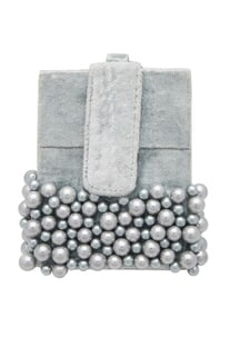 Shell pearl embellished box clutch