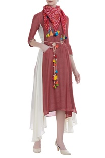Modal silk draped dress with inner & scarf