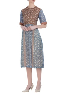 Hand-woven linen block printed dress