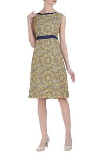 Tussar linen block printed dress
