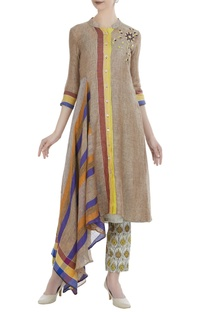 Hand-woven linen gota embroidered kurta with pants