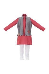 Patchwork open jacket with kurta