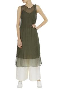 Kota cotton shibori dyed tunic with inner