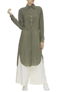 Striped khadi collared tunic