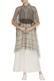 Kota silk stripe sheer tunic
